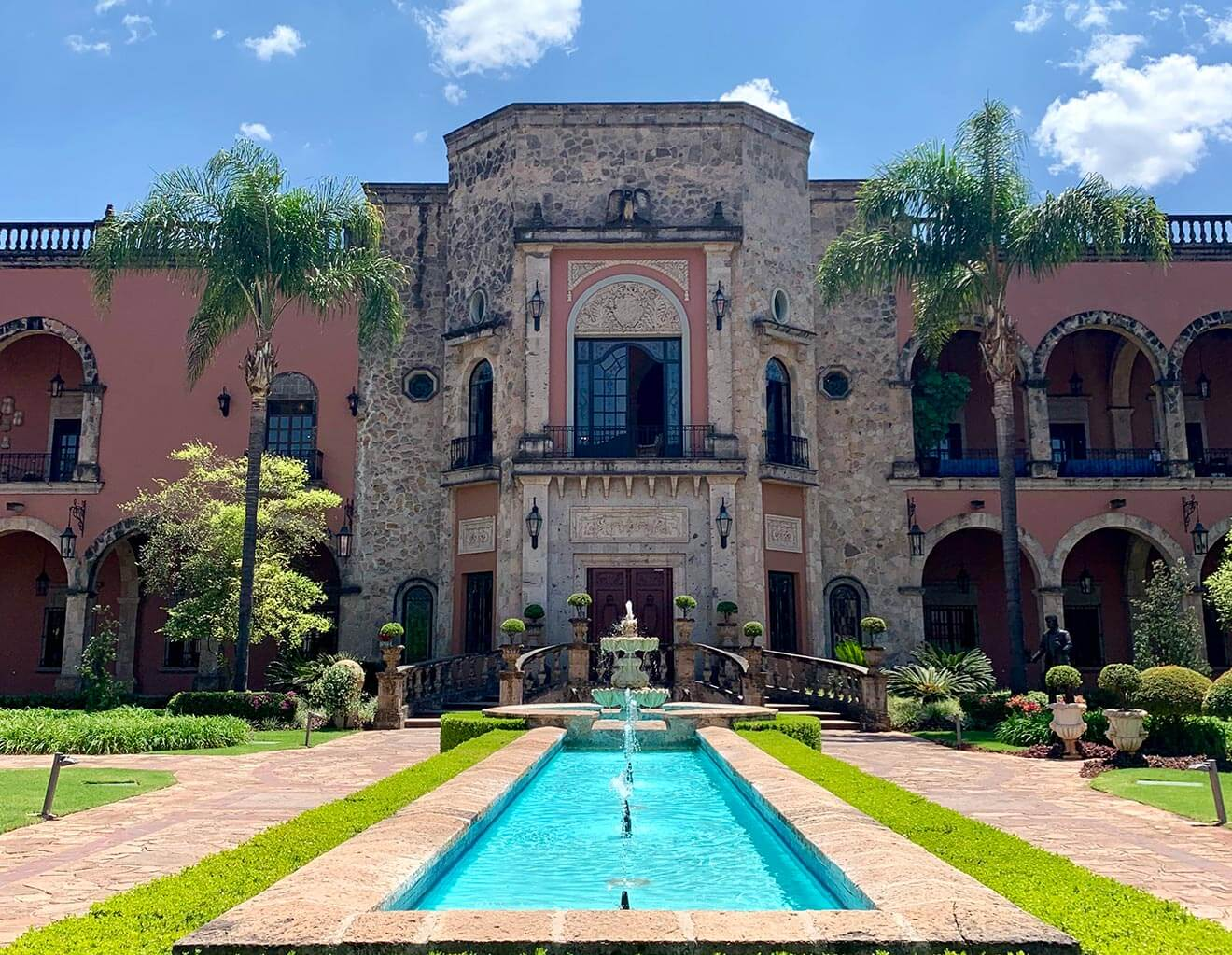 Hacienda Patrón, home front entrance with fountain