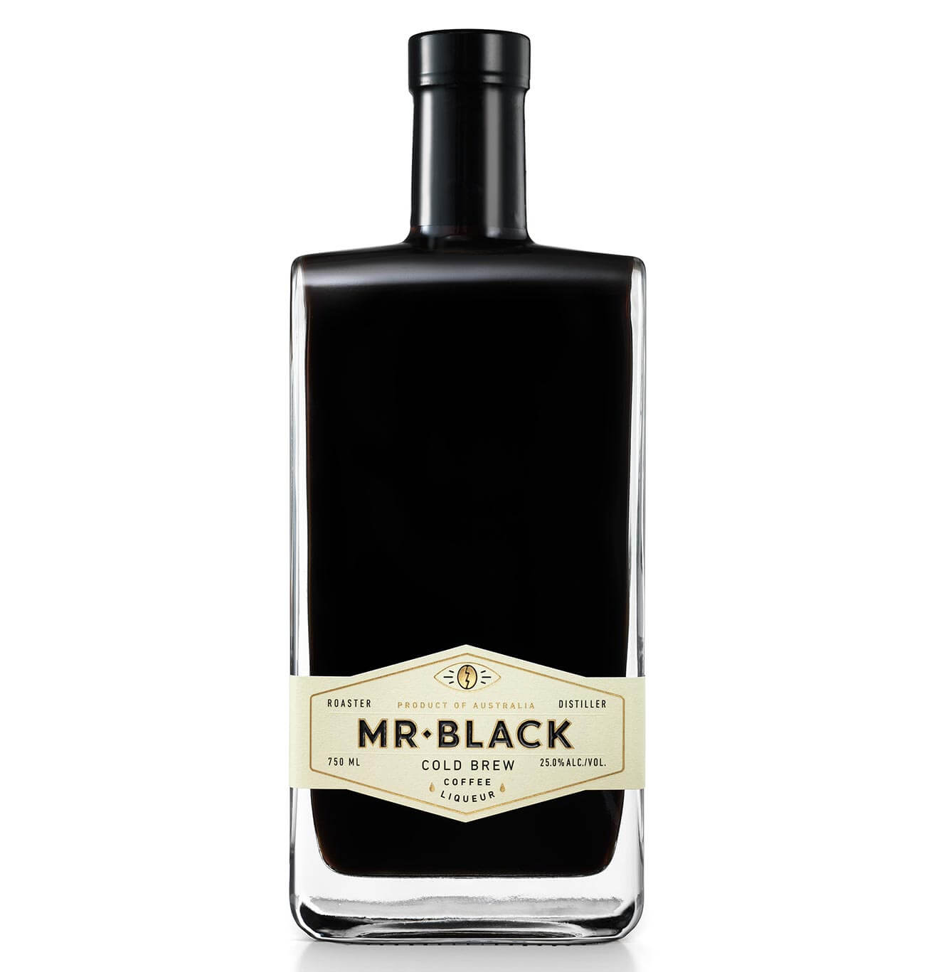 Mr Black Cold Brew Coffee Liqueur, full bottle on white