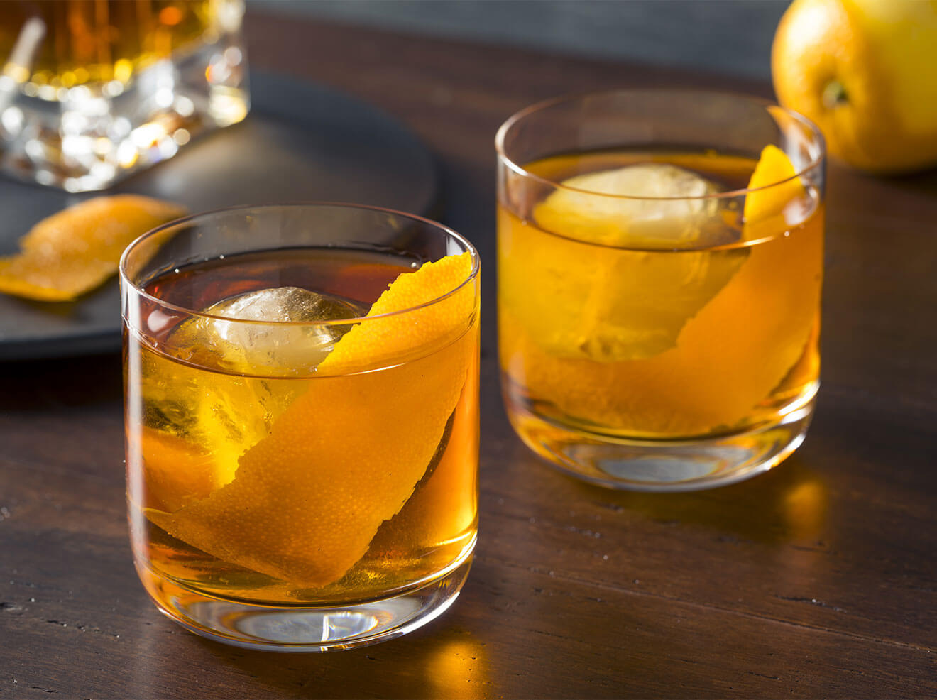 Rye Old Fashioned, cocktails with garnish