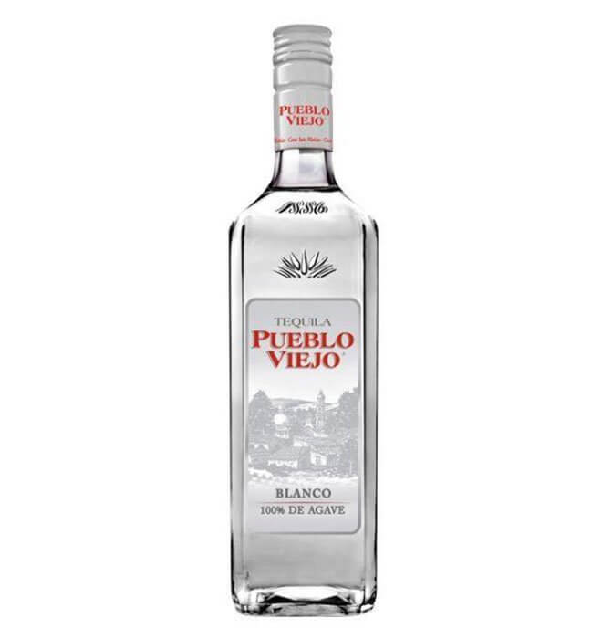 Pueblo Viejo Blanco Tequila, bottle on white