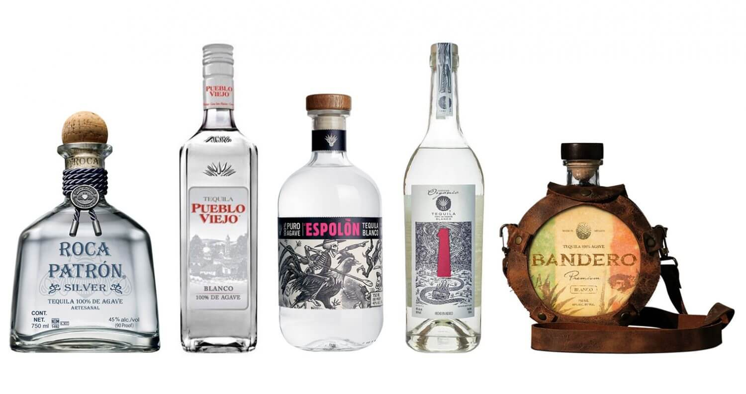 The Best Tequilas for Margaritas, bottles on white, feature image