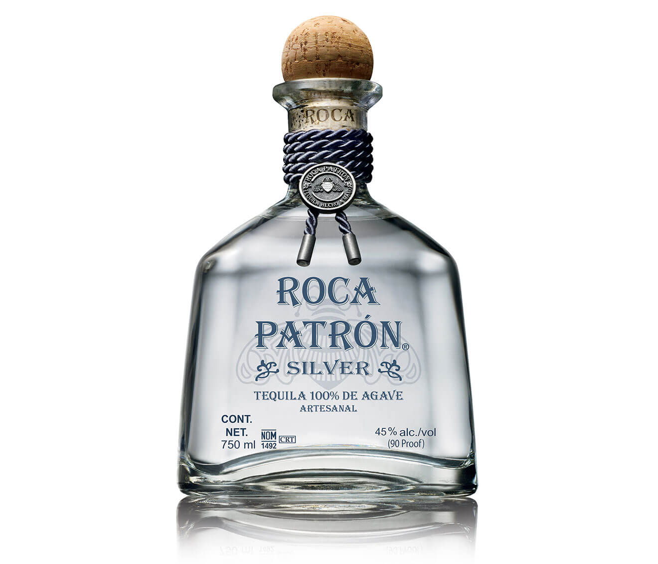 Roca Patrón Silver, bottle on white