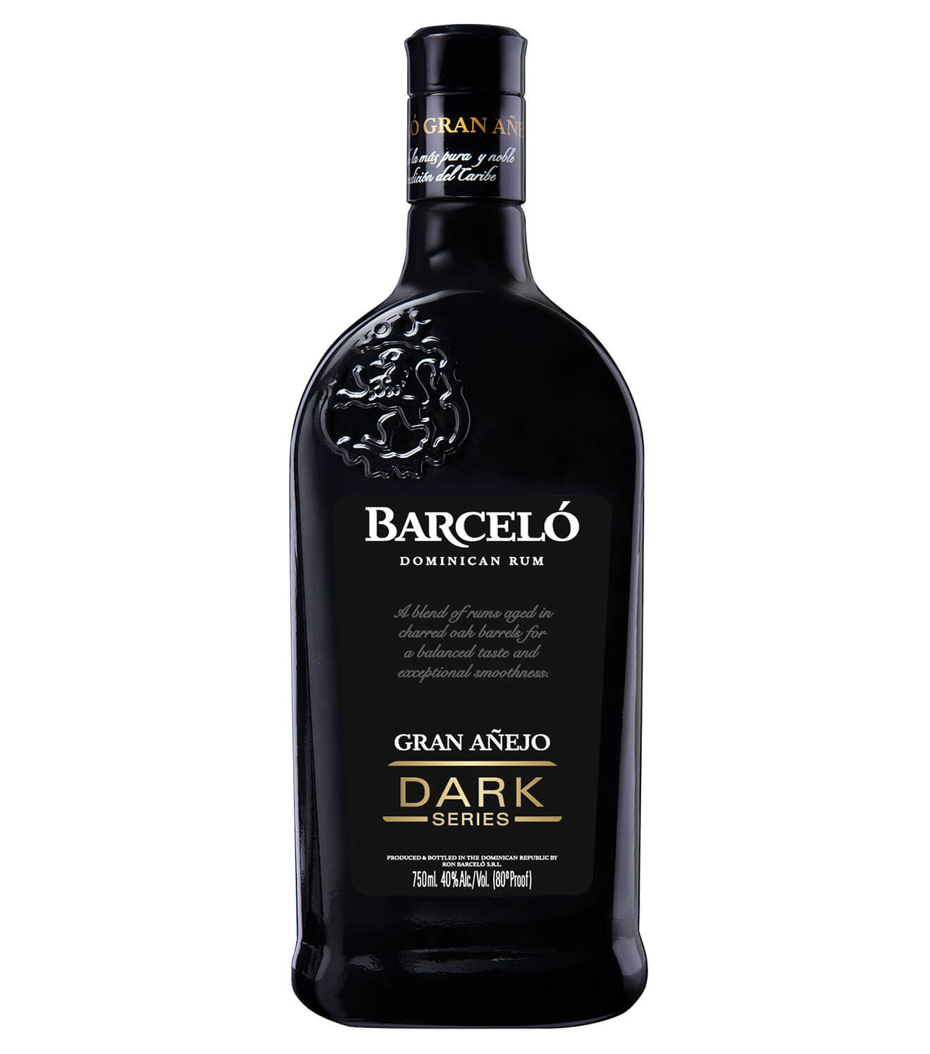 Ron Barceló Gran Aَñejo Dark Series, bottle on white