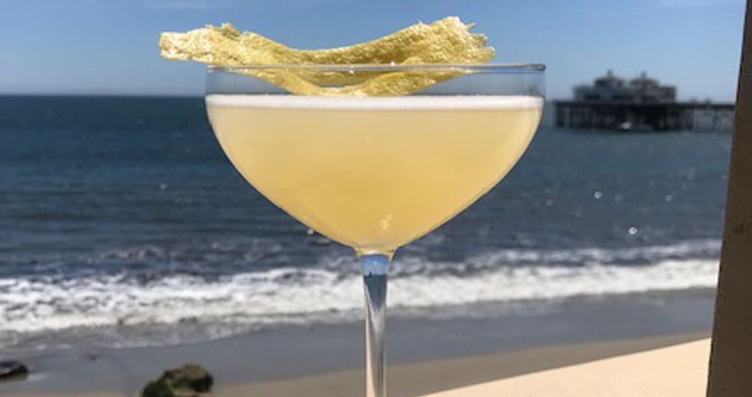 Bee's Knees 2019, cocktail with garnish, beach view in back, featured image