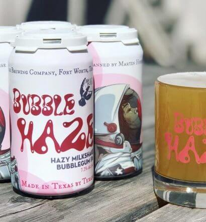 Bubble Haze Milkshake IPA, cans and glass, featured image
