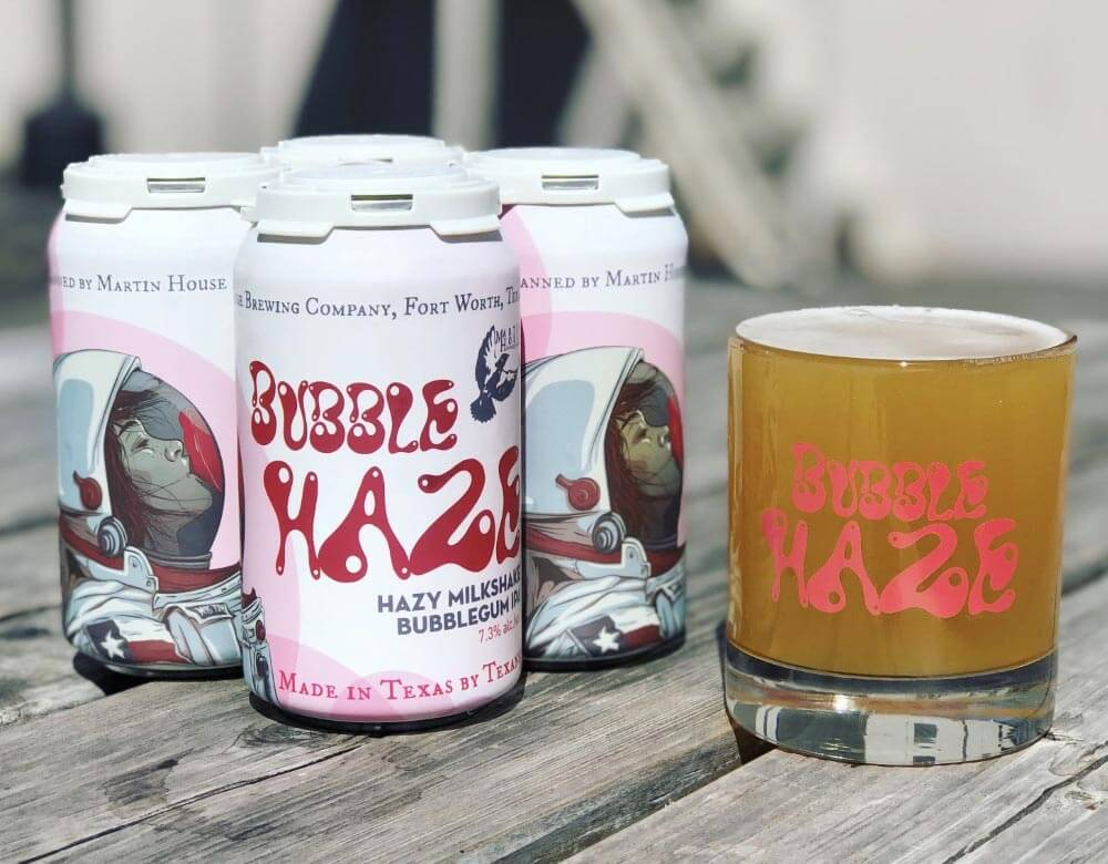 Bubble Haze Milkshake IPA, cans and glass
