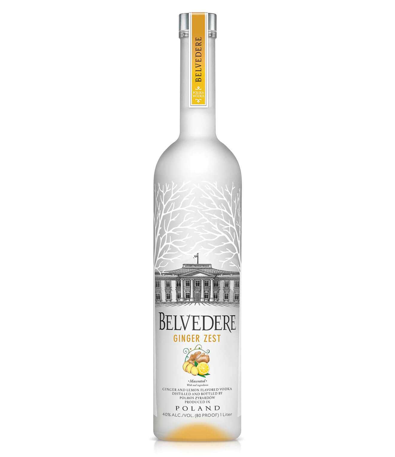 Belvedere Vodka Ginger Zest, bottle on white