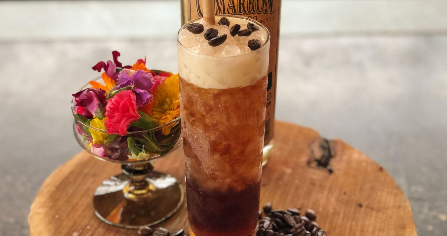 Cold Brew Carajillo, cocktail with garnish on tray