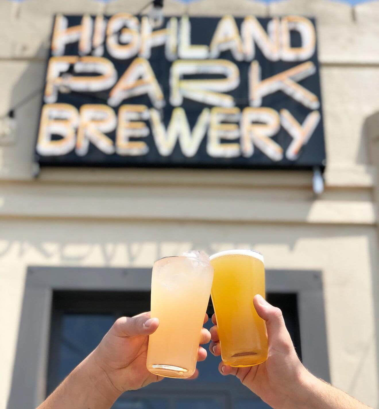Highland Park Brewery, craft beer cheers, front entrance with signage