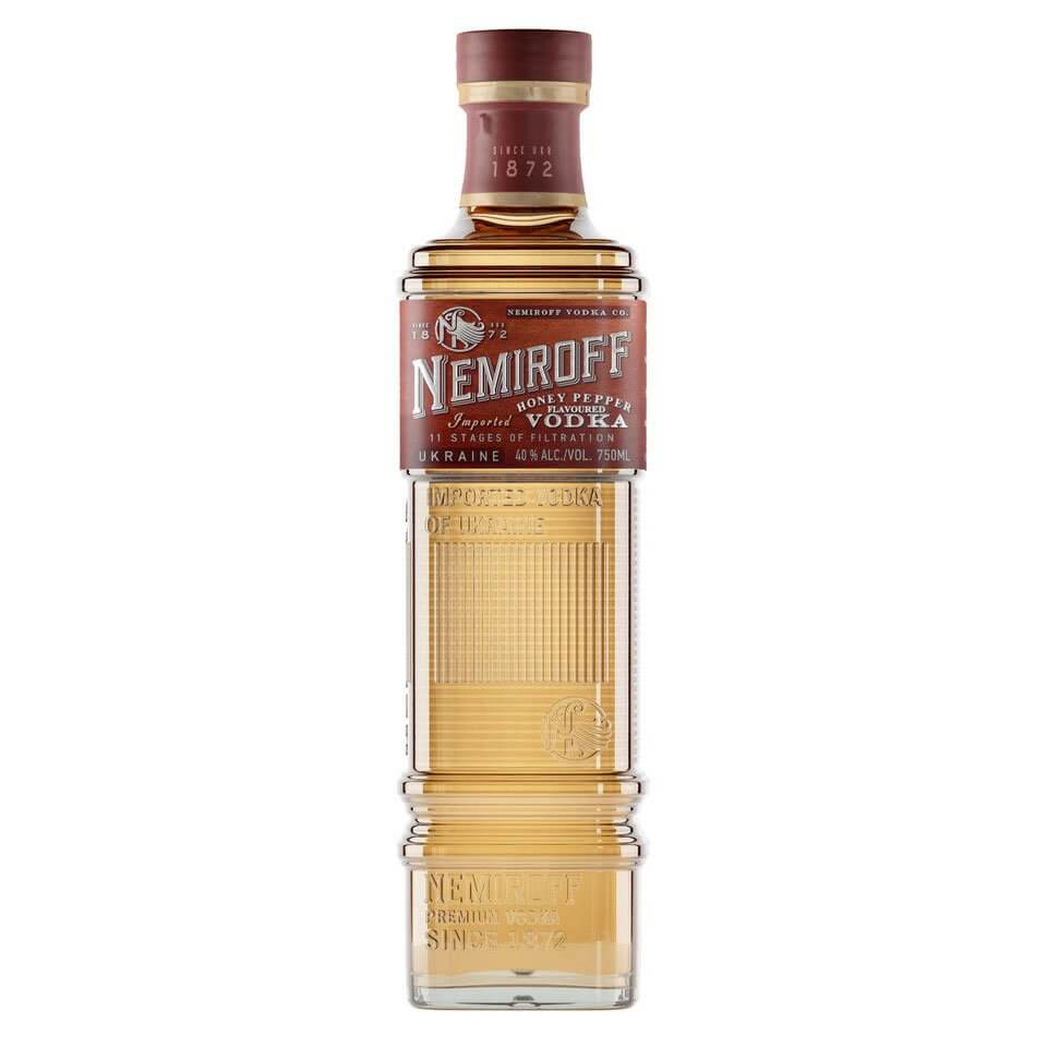 Nemiroff Honey Pepper Flavoured Vodka, bottle on white