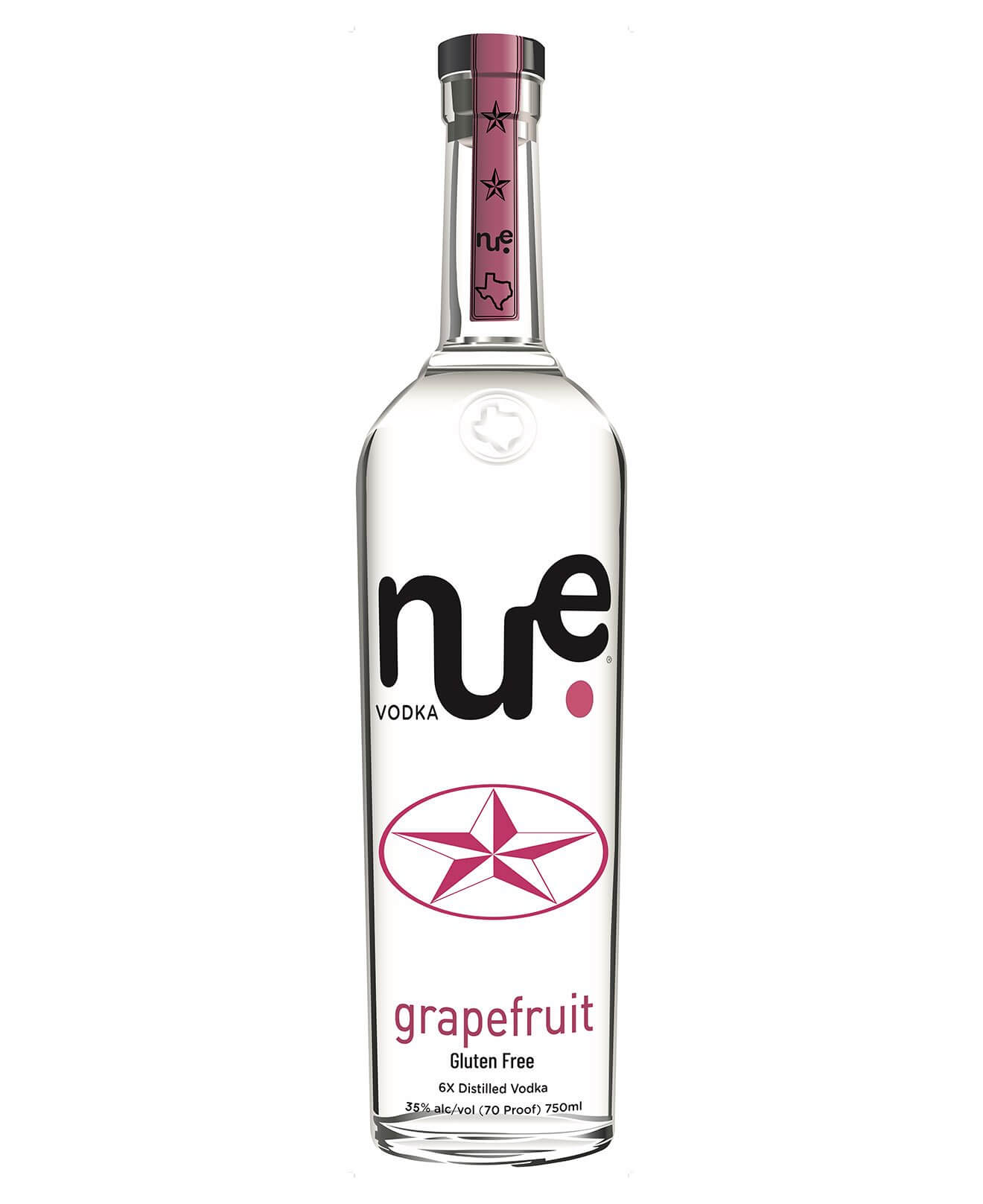 Nue Grapefruit Vodka, bottle on white