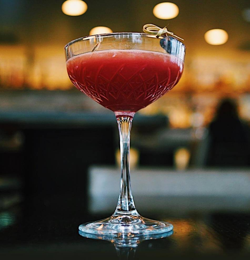 panzano bar, bright red martini cocktail