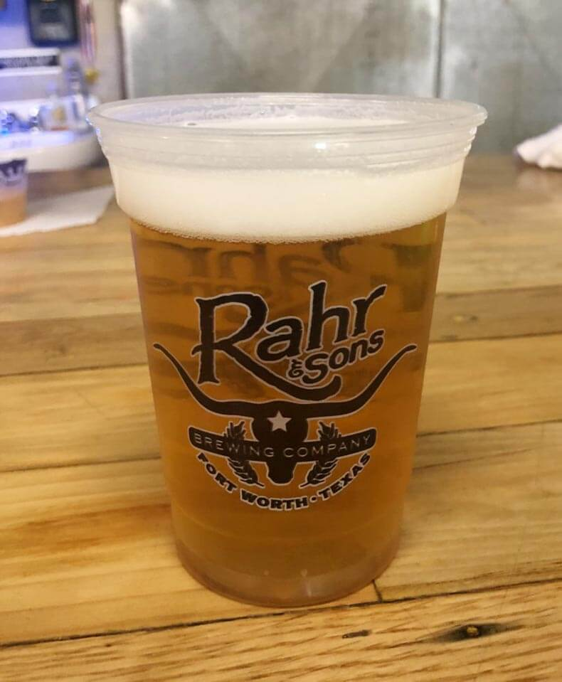 Rahr & Sons Brewing Company, beer in plastic cup