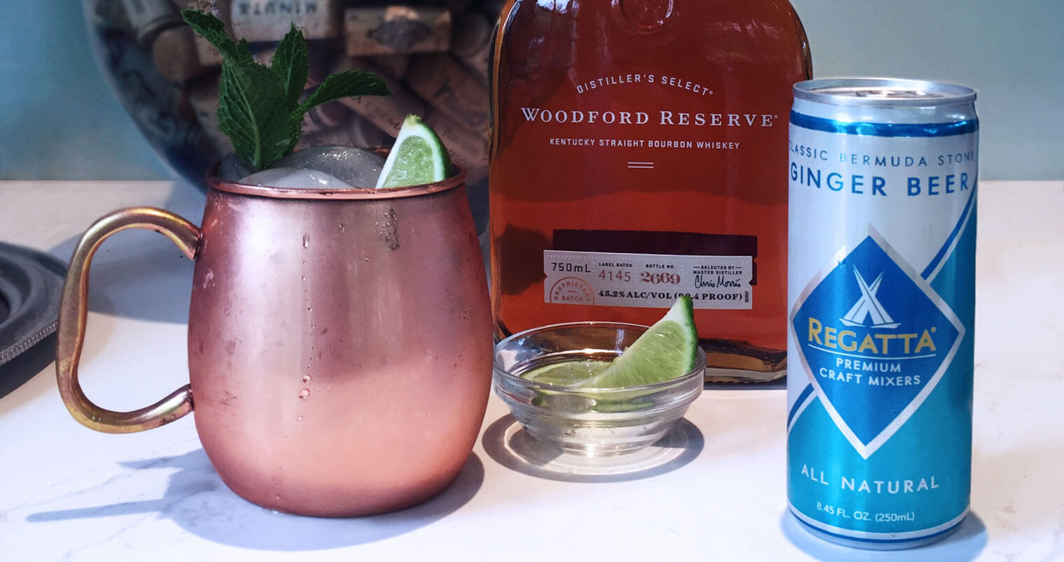 Regatta Kentucky Mule, bottle and cocktail with variety of decoration, featured image