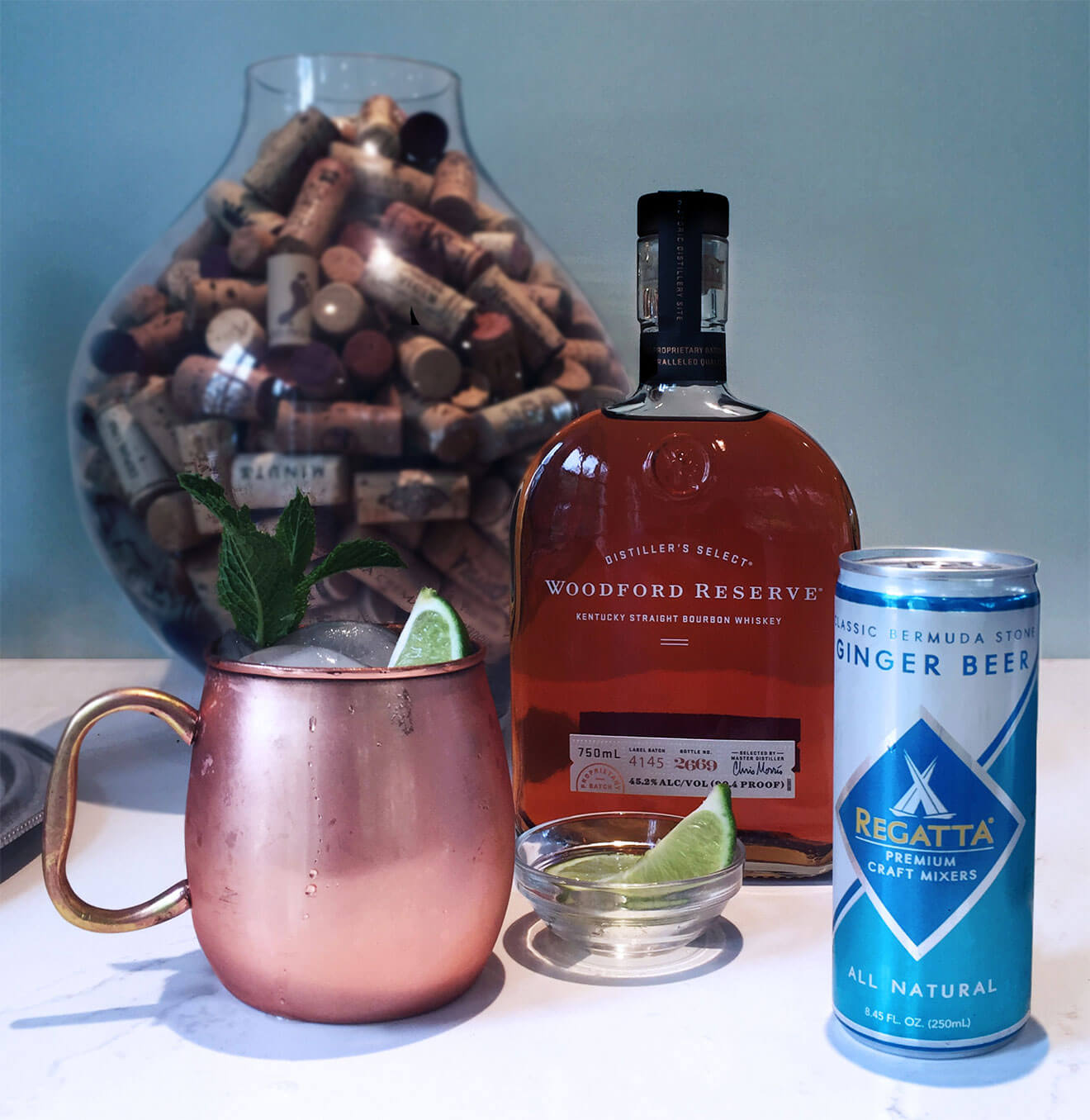 Regatta Kentucky Mule, bottle and cocktail with variety of decoration