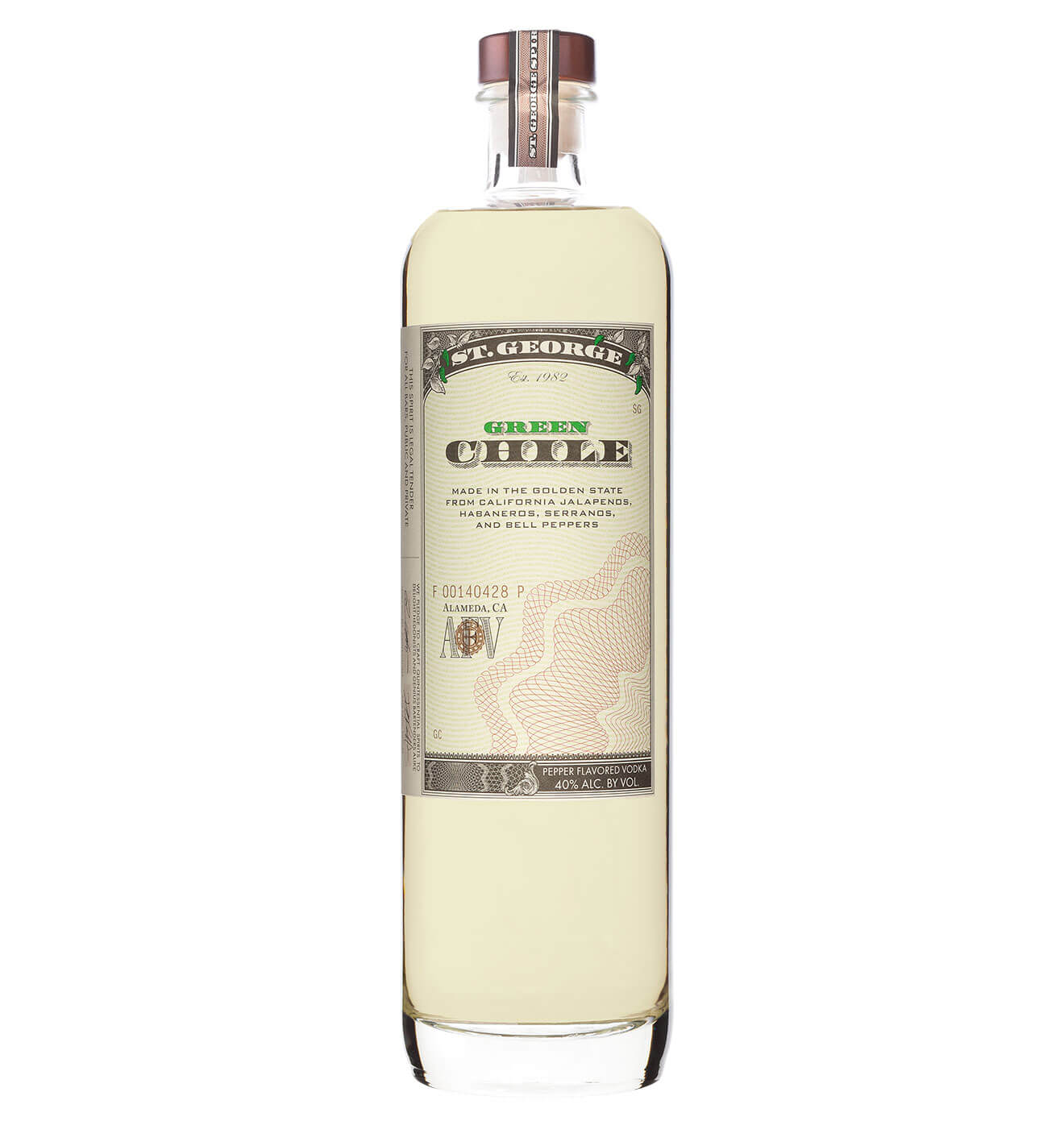 St. George Spirits Green Chile Vodka, bottle on white