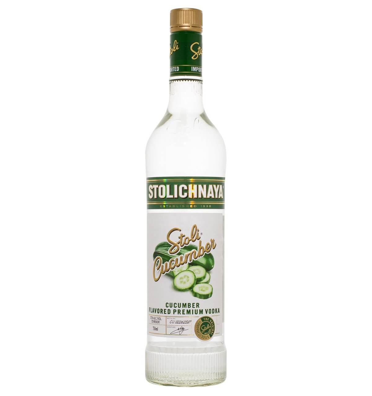 Stolichnaya Cucumber Vodka, bottle on white