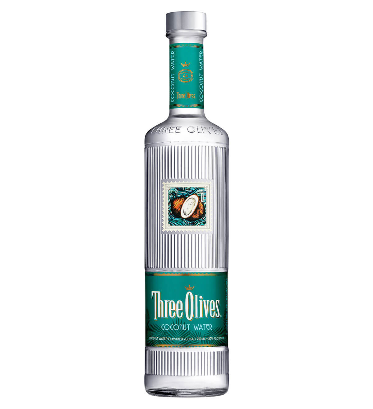 Three Olives Coconut Water Vodka, bottle on white