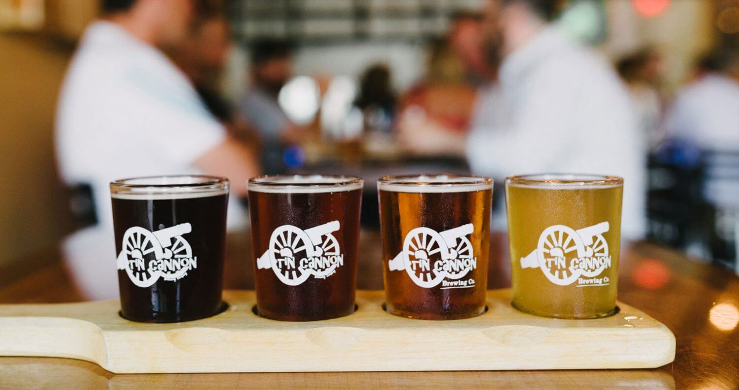 Tin Cannon Brewery, beer flight, featured image