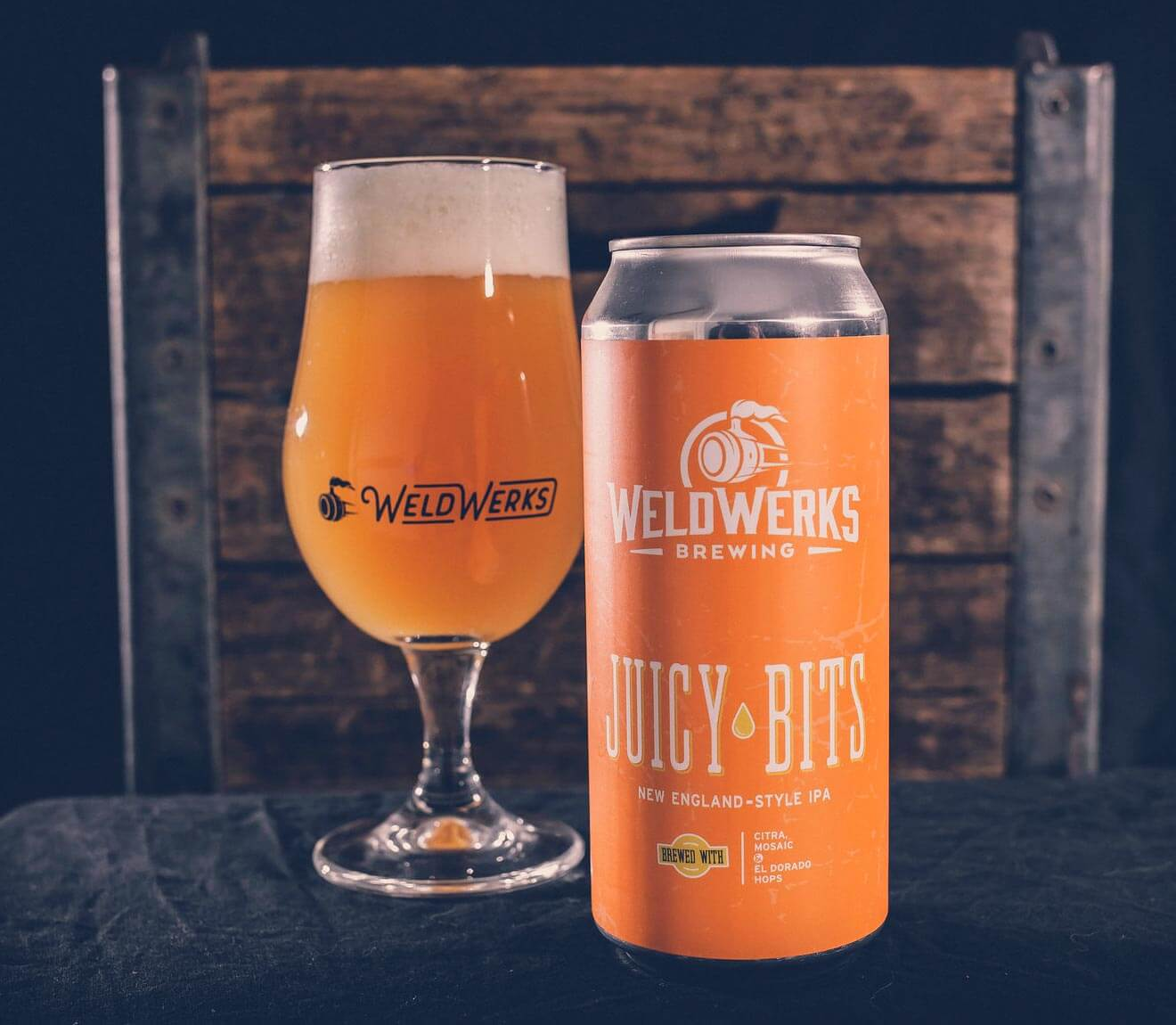 WeldWerks Juicy Bits, glass pour and can on table