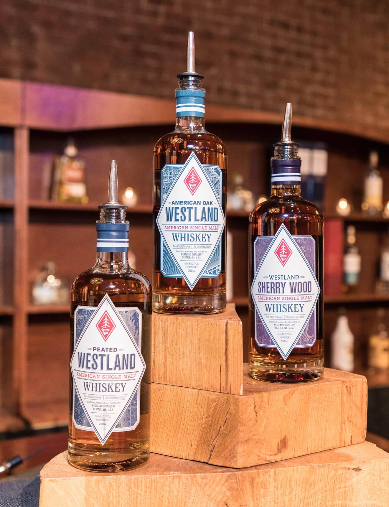 Westland Whiskey, bottles on trophy stand display