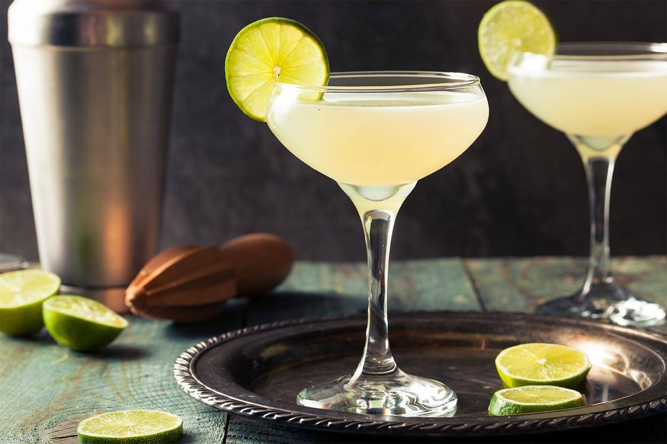 Classic Daiquiri cocktails with lime wheel garnish