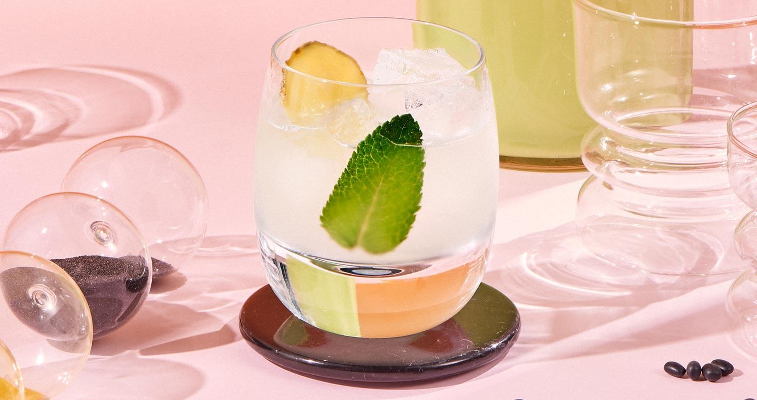 Ginger Mint Margarita, cocktail, bottle, glasses and garnishes, featured image
