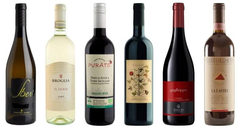 Italian Wines by the Glass, bottles on white, featured image
