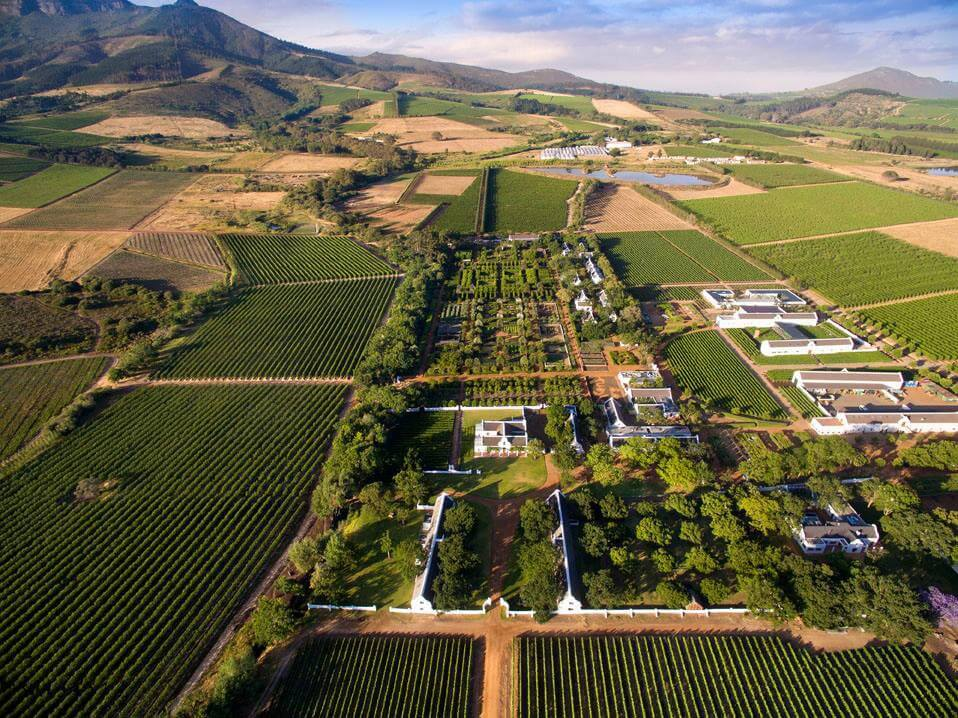 Babylonstoren, overhead view of property and vineyards