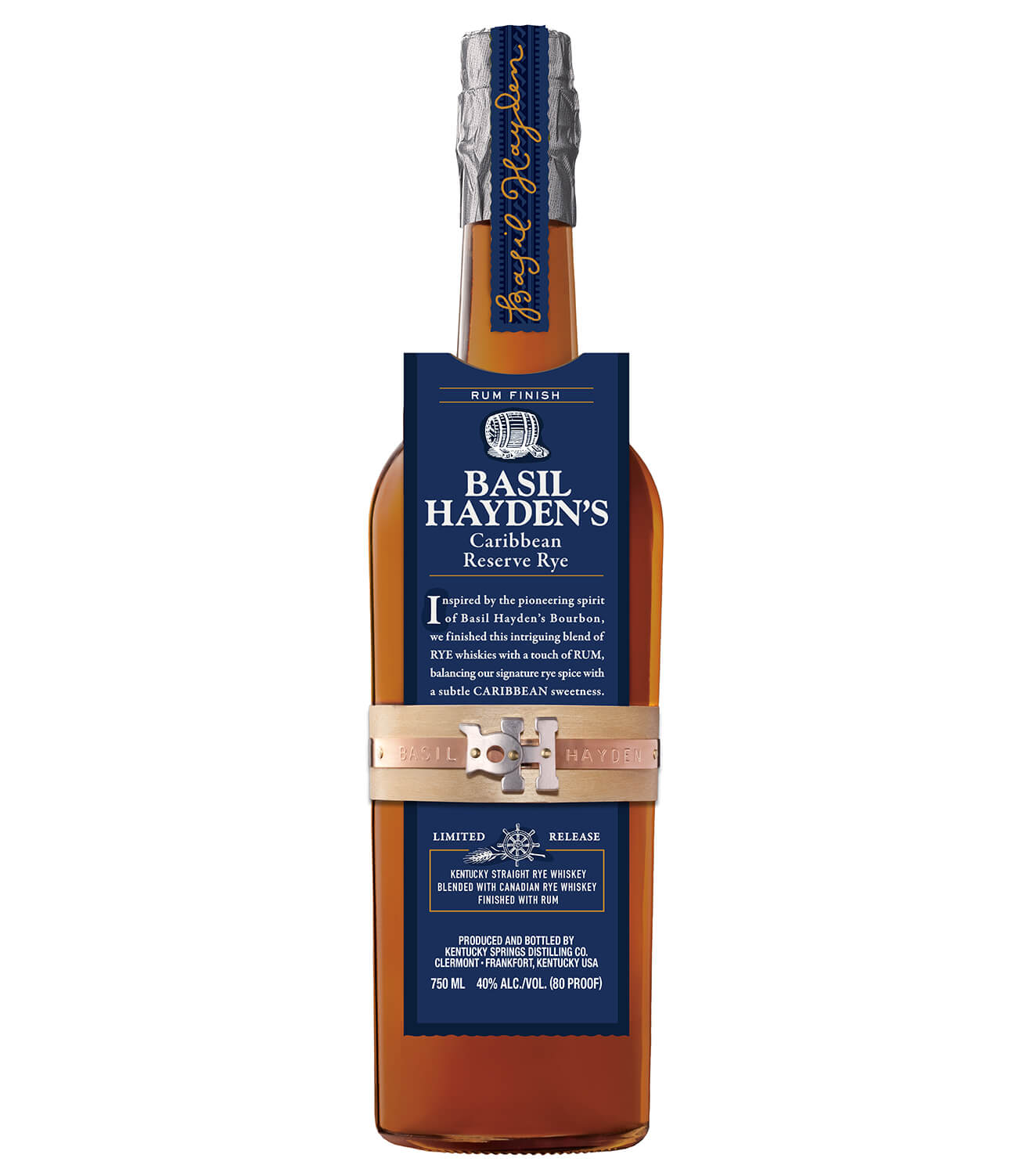 Basil Hayden's Caribbean Reserve Rye, bottle on white