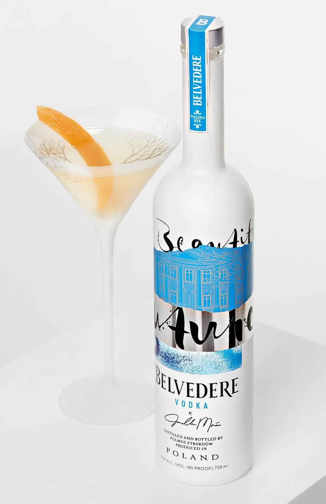 "Belvedere ""A Beautiful Future"" Bottle and martini with garnish"