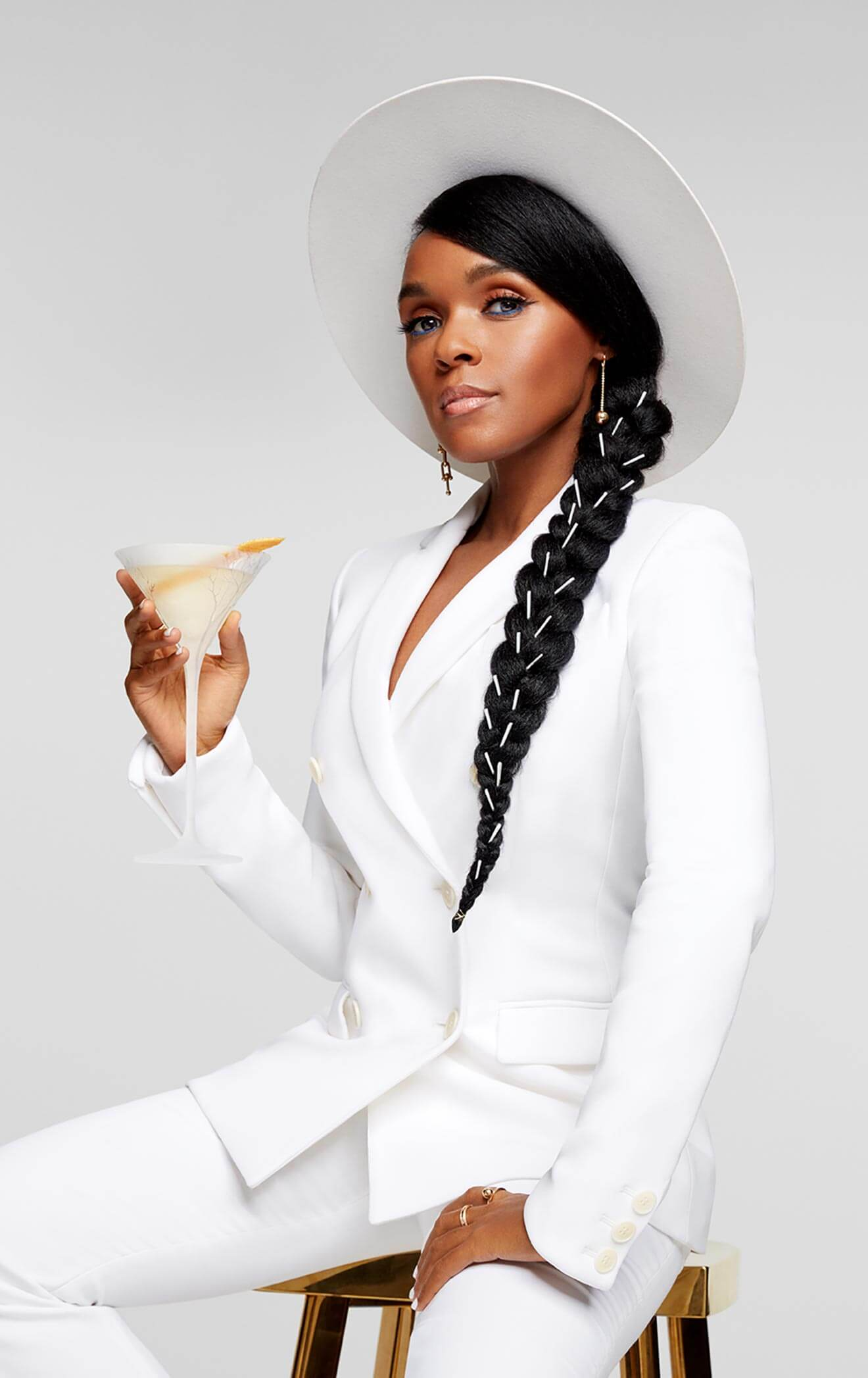 Janelle Monáe, posing with martini