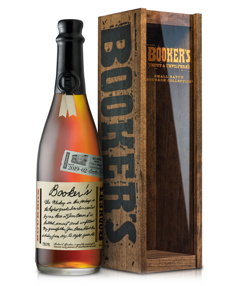 "Booker's Batch 2019-02, ""Shiny Barrel Batch"", bottle and package on white"
