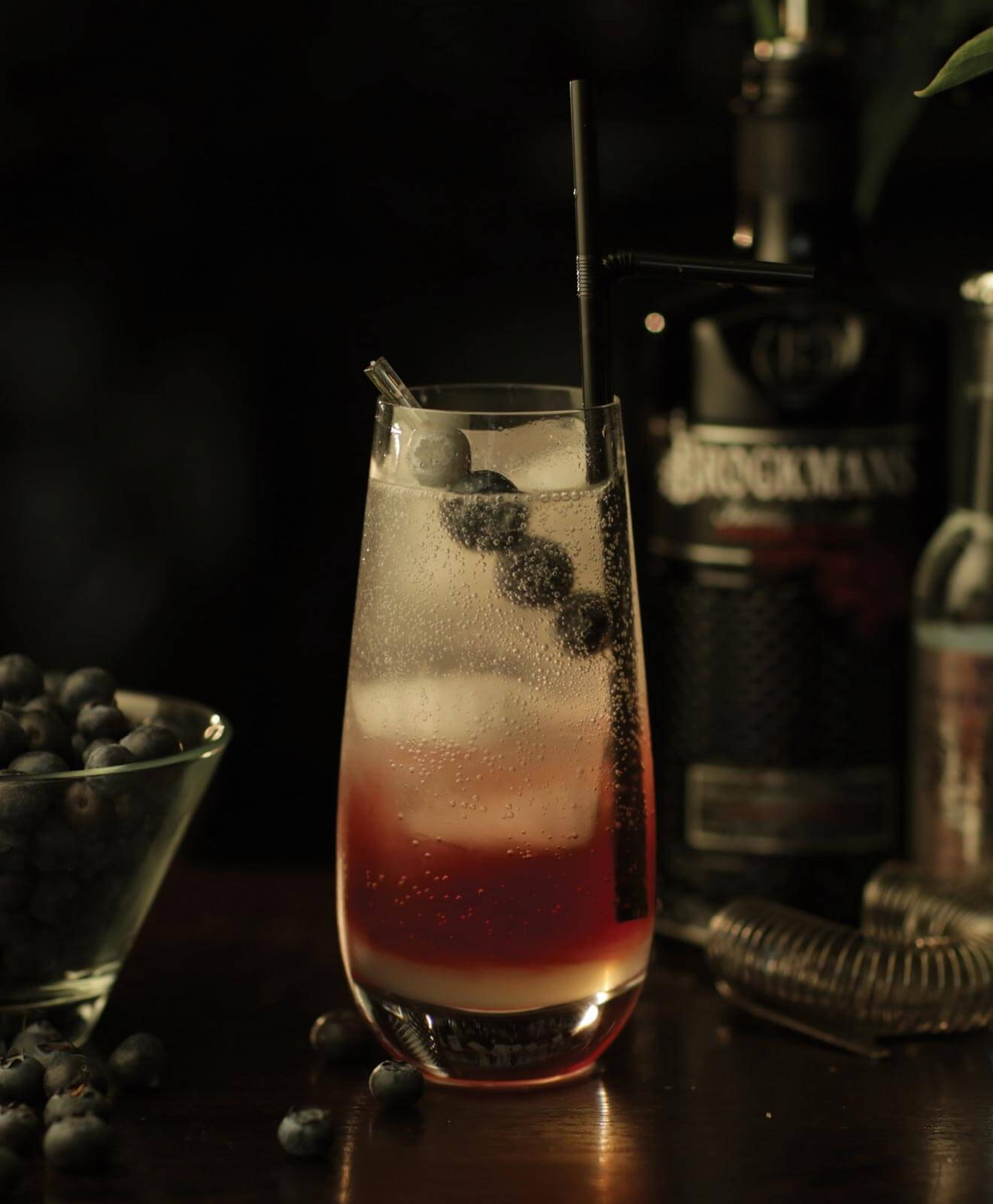 brockmans garden cocktail with garnish, dark background