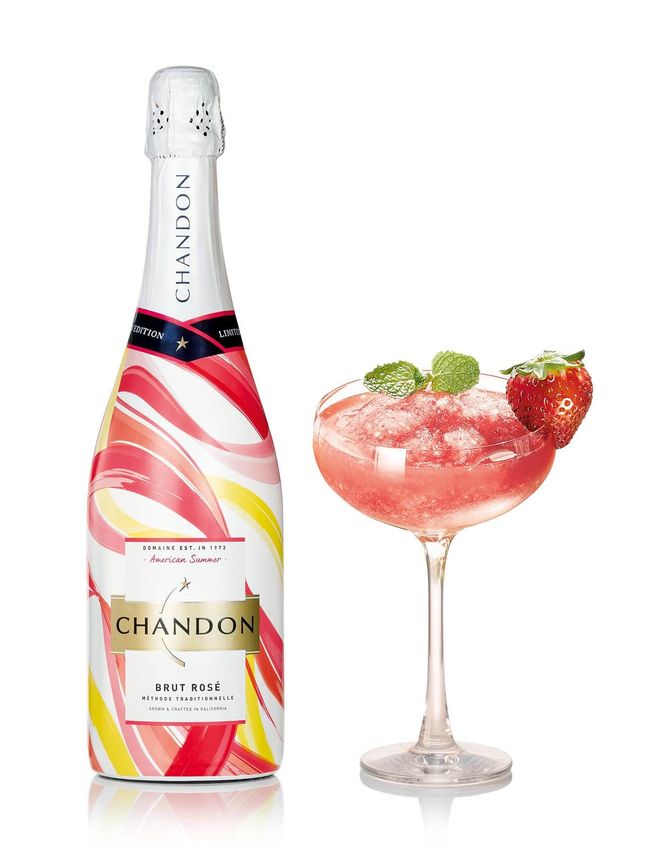 Chandon Frozen Berry, bottle and cocktail on white