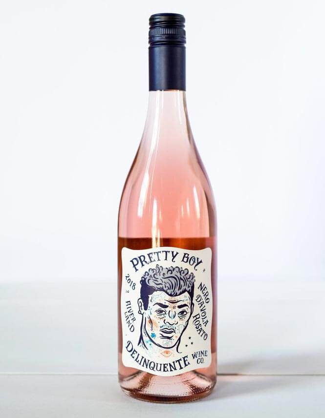 Delinquente Pretty Boy Rosato, bottle on light grey back