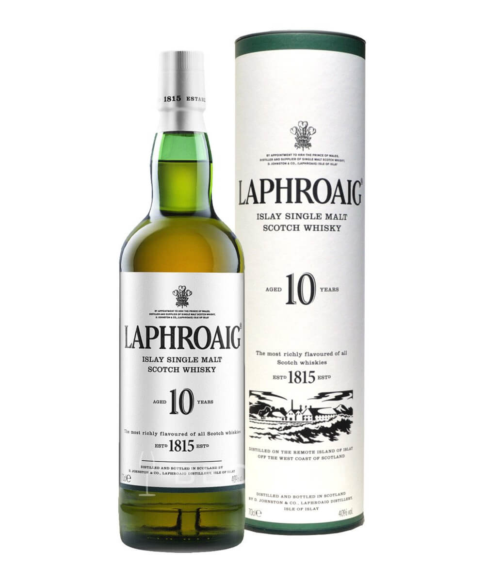 Laphroaig 10 Year Old Scotch Whisky, bottle and package on white