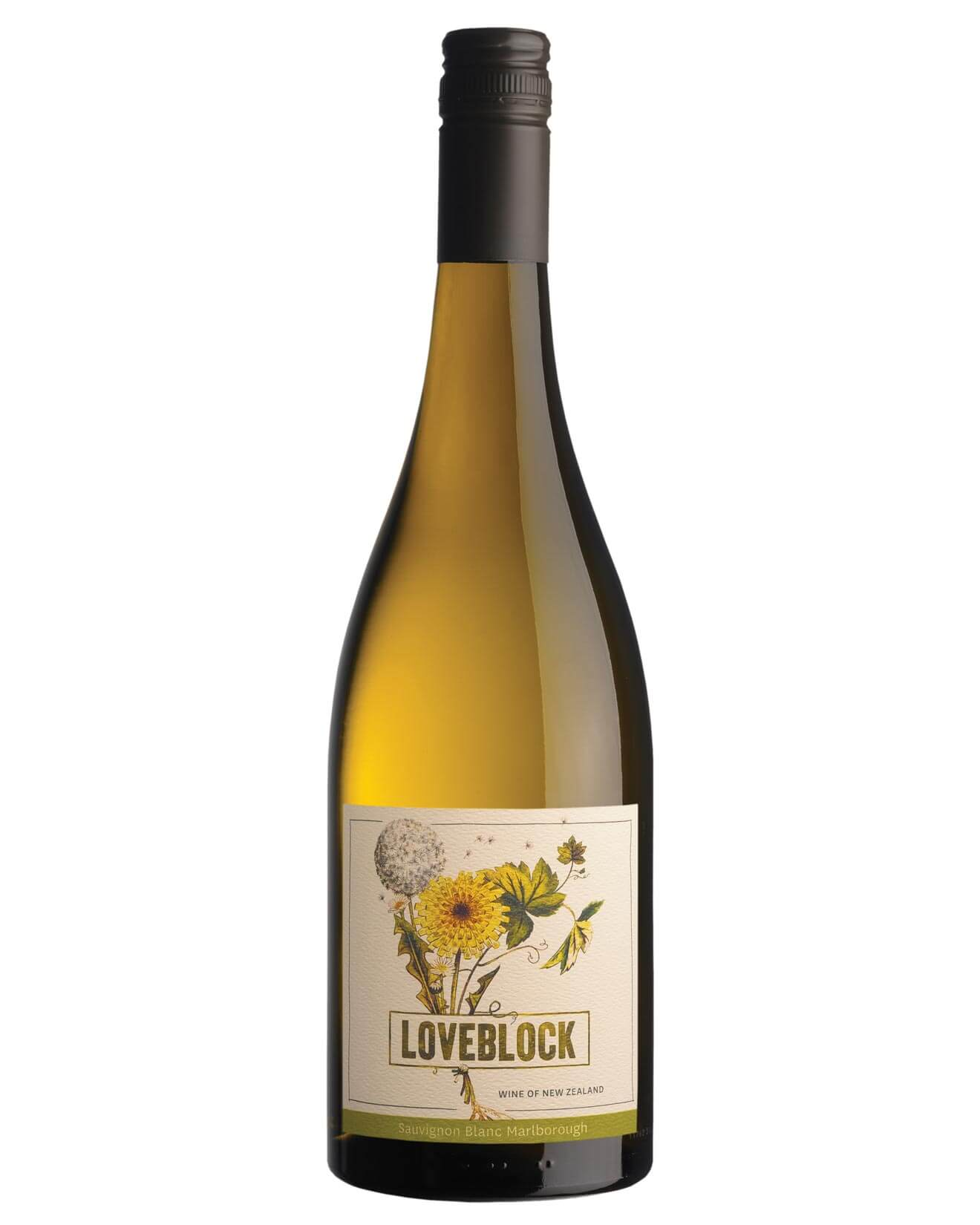 Loveblock Sauvignon Blanc 2018, bottle on white
