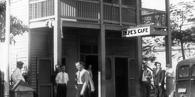 Pepe's Cafe retro photo black and grey