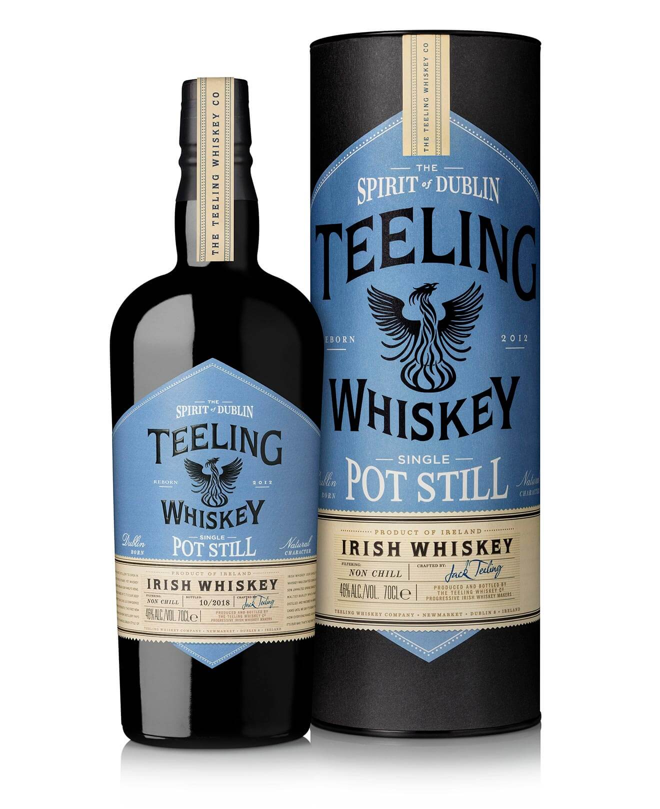 Teeling Single Pot Still Irish Whiskey, bottle and package on white