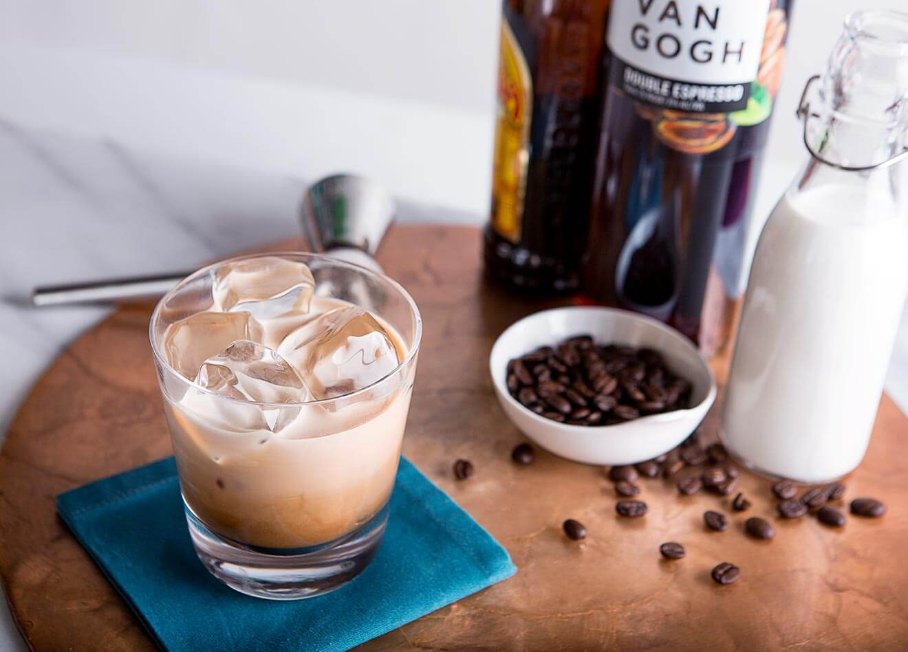 Van Gogh Double Dutch Russian, cocktail with bottle and coffee beans