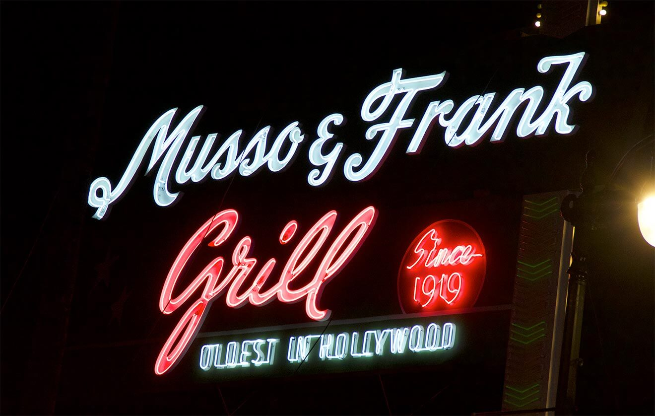 Musso & Frank Grill, outdoor neon sign