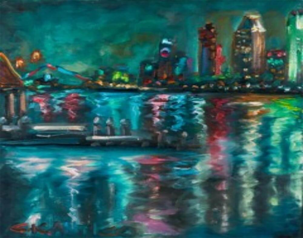 America's Finest City's Lights San Diego painting
