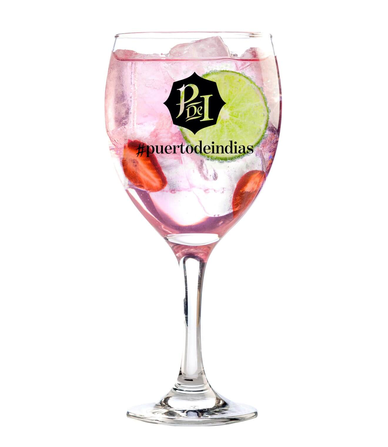 Perfect Serve Puerto de Indias Strawberry, glass with logo, on white