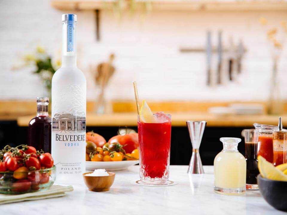 Belvedere Polska Mary, kitchen display with bottle, garnishes and cocktail