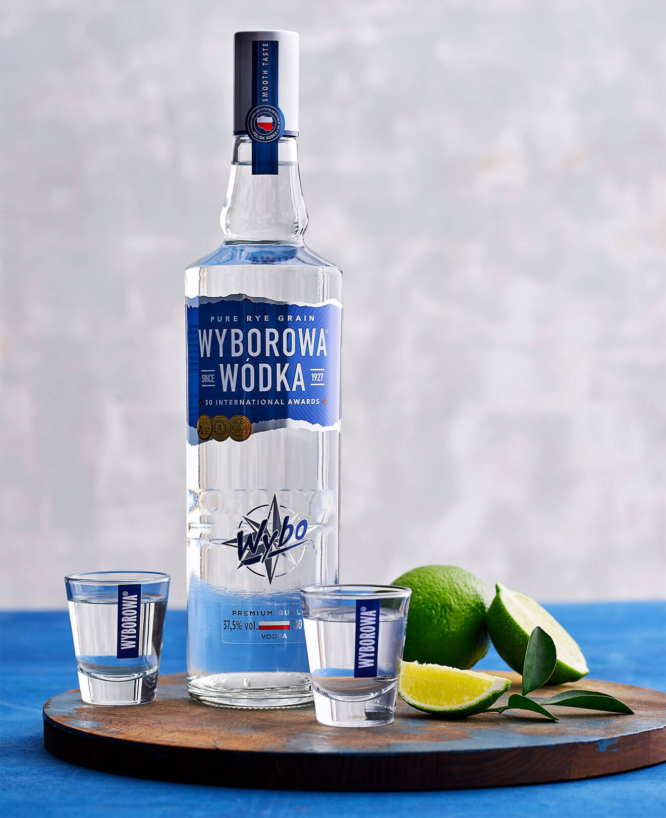 Wyborowa Vodka Shots, bottle and garnishes