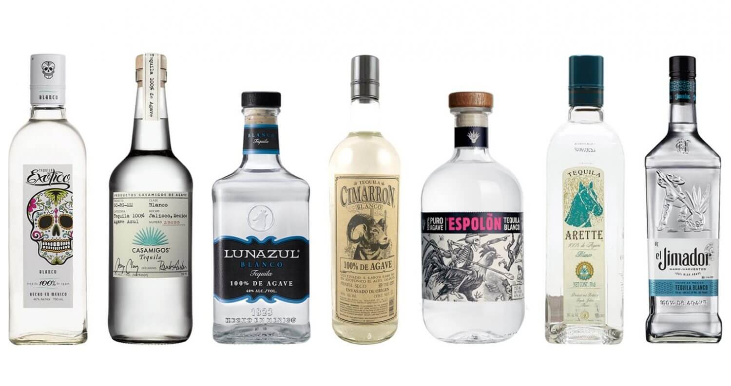 Best Well Tequilas, bottle varieties on white, featured image