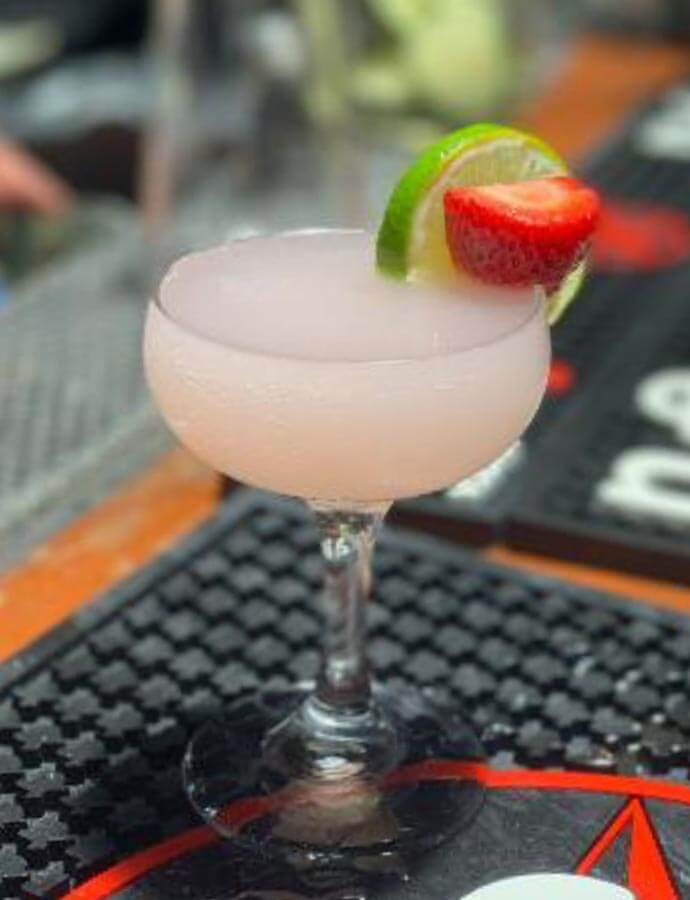 Texas Summertime Sweetheart, cocktail with strawberry garnish