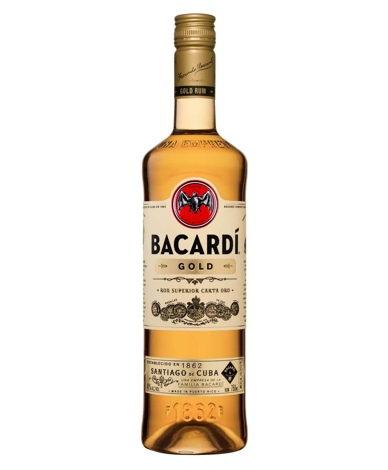 BACARDÍ Gold, bottle on white