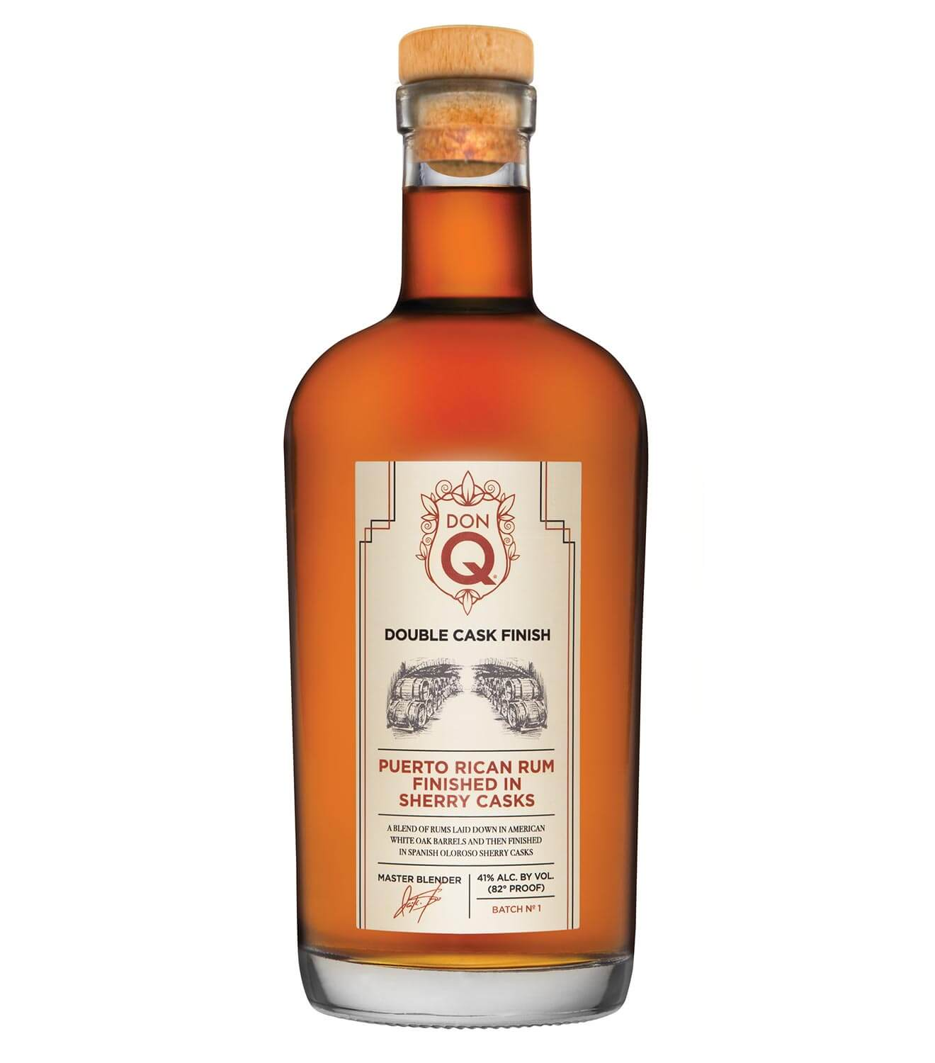 Don Q Double Aged Sherry Cask Finish Rum, bottle on white